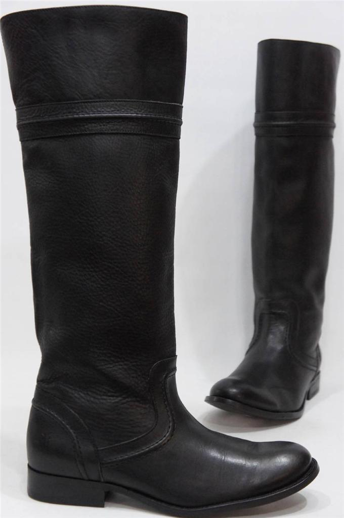 FRYE MELISSA TRAPUNTO BLACK LEATHER BOOTS SHOES 6  357