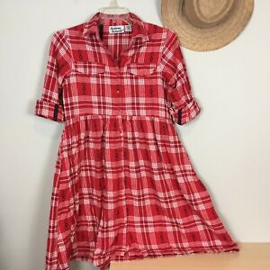 Anthony-Richards-Red-Plaid-Flannel-Shirt-Dress-Size-M-Long-Sleeve