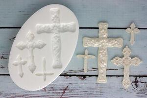Ellam Sugarcraft M131 Croix croix de communion Moule Silicone baptême