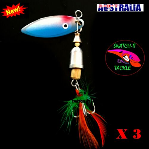 Tackle 3 x Fishing Freshwater Spinner Lures Bass Trout Lure Redfin Perch