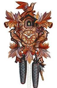 Hubert Herr, Black Forest 8 day cuckoo clock, 3 hand carved birds & 7 leaves, - Triberg, Deutschland - Hubert Herr, Black Forest 8 day cuckoo clock, 3 hand carved birds & 7 leaves, - Triberg, Deutschland