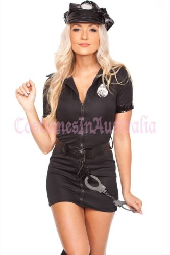 Womens Ladies Woman Black Cop Police Uniform Party Fancy Dress Costume Outfits