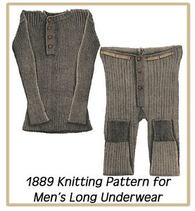 Knitting Pattern For Underwear : 1889 Vintage Knitting Pattern for Mens Light Weight Long Underwear Size ...