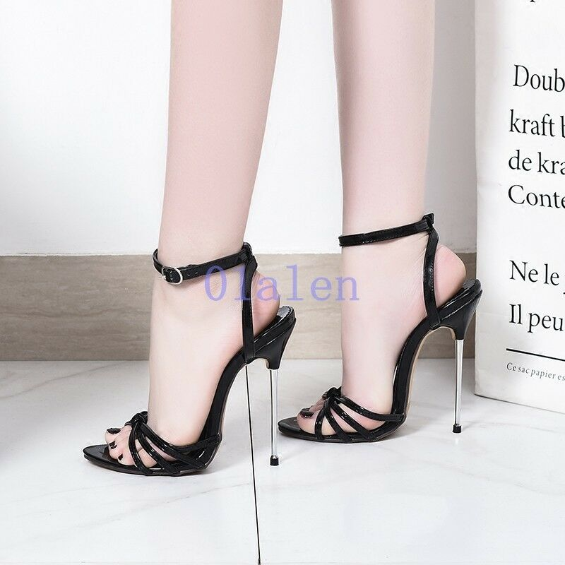 Sexy Women's Open Toe Metal High Heel Buckle 13CM 13CM 13CM Strap Pub Sandals Runway shoes d85382