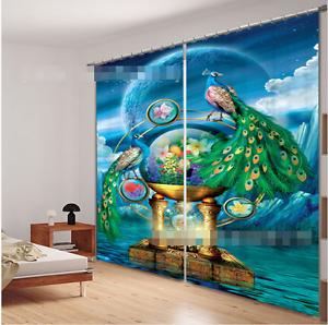 3D Pavo Real 0483 Cortinas de impresión de cortina de foto Blockout Tela Cortinas Ventana Reino Unido