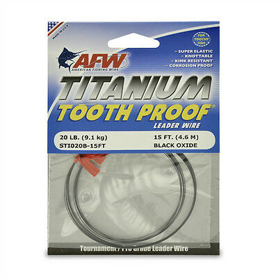 AFW TOOTH PROOF TITANIUM LEADER - Single Strand Wire - 20LB Test - NEW!