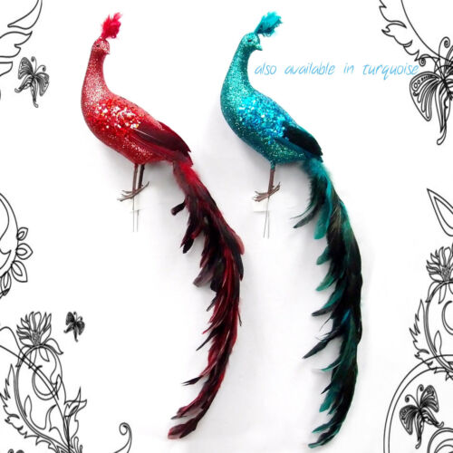 28 inch Glitter//Feather Long Tail Bird in WHITE Handmade
