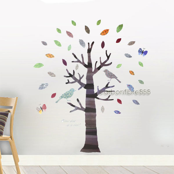 large colourful tree&birds wall stickers art decals children kids