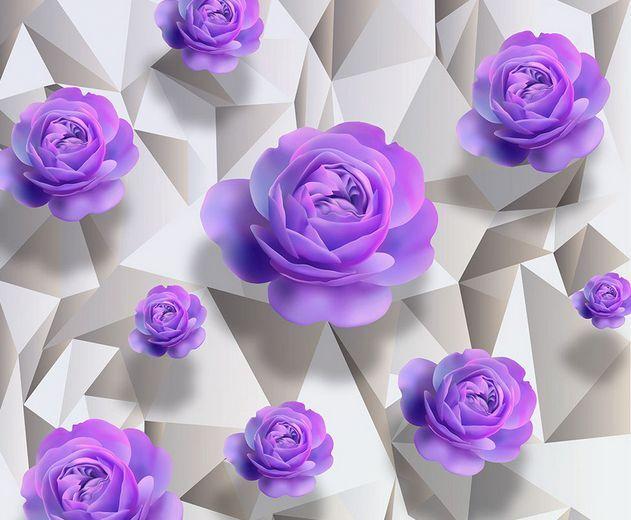 3D Púrpura Flor Liso Papel Pintado Mural Parojo Calcomanía de impresión de piso 5D AJ Wallpaper