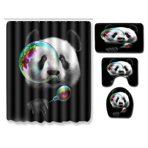 Wildlife Animal Black Bath Shower Curtain Leopard Bear Panda Soft Bath Rugs Mat