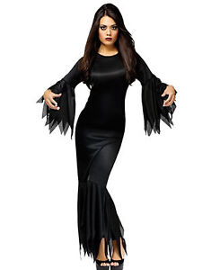 madam morticia addams family adult halloween costume dress fancy one size