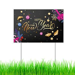 Happy New Year Yard Sign Garden Lawn Decor Corrugated ...