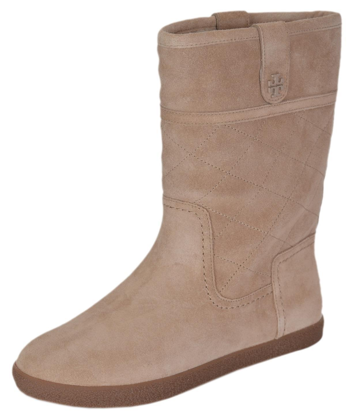 NEW Tory Burch Women's Suede Shearling Camel Mid Calf Winter Snow Boots Shoes