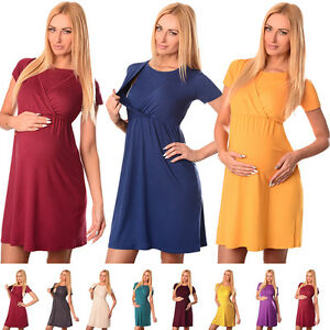 Comfortable-2in1-Maternity-and-Nursing-Short-Sleeved-Scoop-Neck-Top-Dress-7200