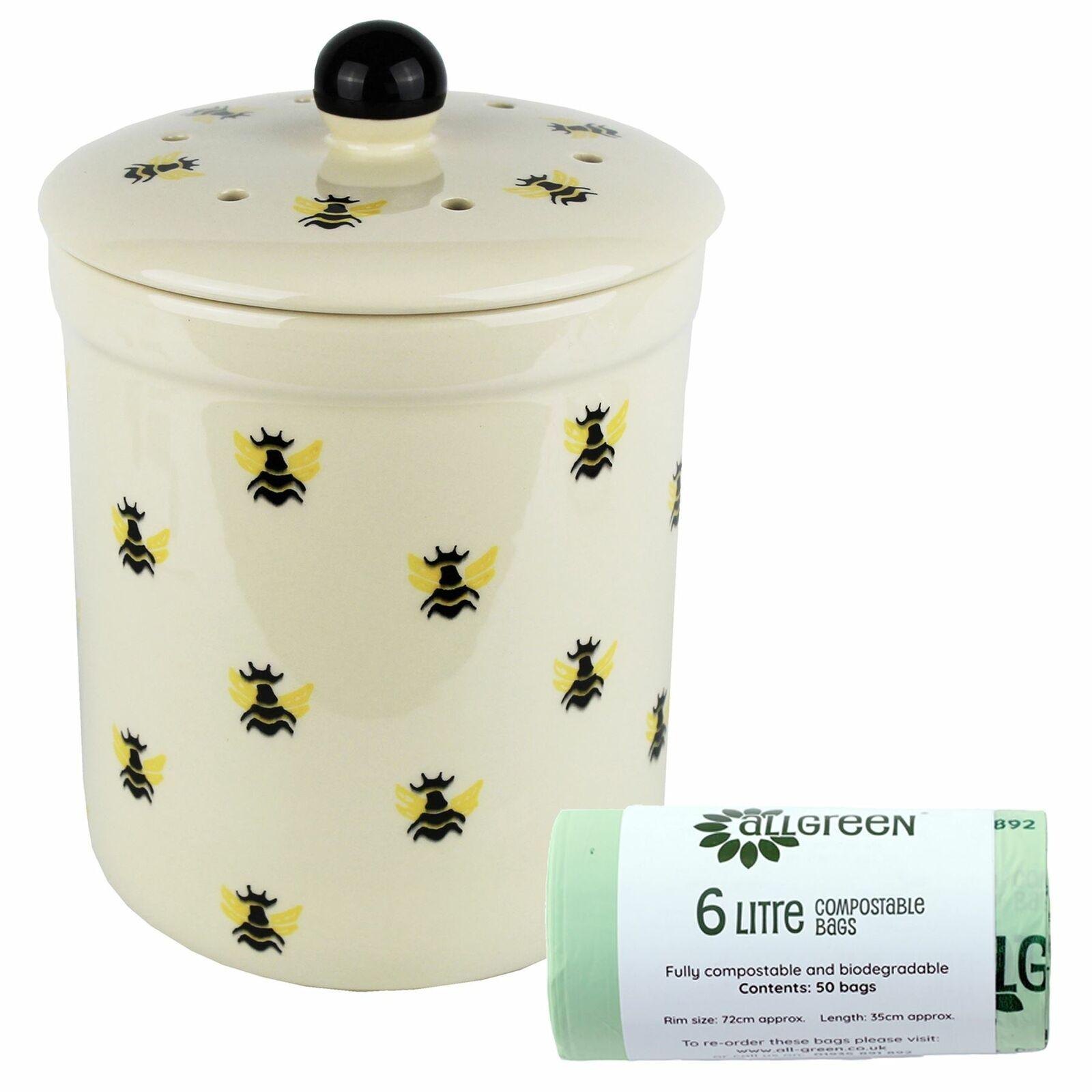 3L Haselbury Honey Bee Ceramic Compost Caddy Food Bin & 50x6L Bags