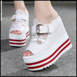 New-Womens-Summer-Open-Toe-High-Wedge-Platform-Lace-Buckle-Creepers-Sandal-Shoes