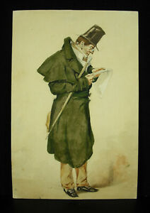Drawing-Original-Vintage-Xixth-c1850-IN-Watercolour-Man-Reading-IN-La-Rue