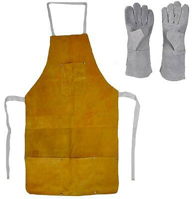 """Leather Heat Resistant Safety Apron + Glove Set Melting Refining Gold Silver 32"""""""