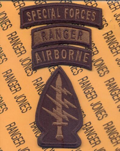 Special Forces Group Airborne Ranger SFGA OD reversed TOP patch set