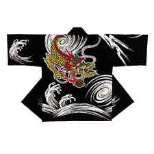 "NEW Japanese Traditional Festival Coat  HAPPI ""Black Dragon"" Kimono Hanten M F/S"