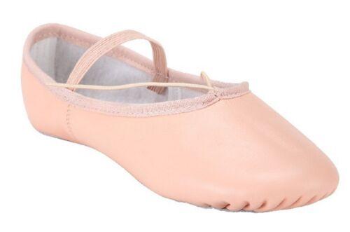Rosa Scarpe Balletto Cuoio Scarpe da Ballo Ballerina Principia Suola Piena