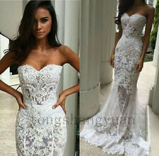 Sexy Mermaid Wedding Dresses Sweetheart White Ivory Lace Bridal Gowns New Custom