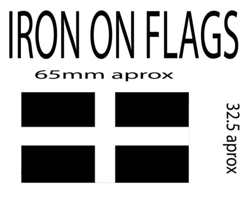other countys available iron on flag x 2 of cornwall