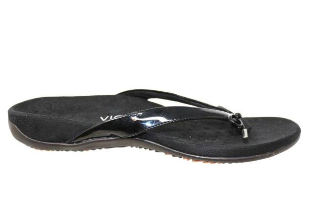 bbc75cf20d67 VIONIC BELLA II Black Patent Orthaheel Support Technology Thong Sandals  Size 9