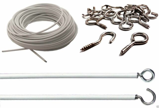STRONG & DURABLE White Net Curtain Wire Window Cord Cable / Free Hooks & Eyes