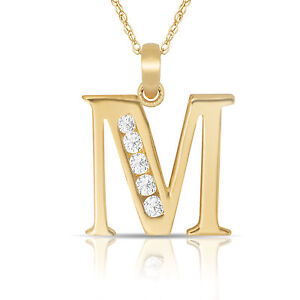 14k Yellow Gold Initial M Charm