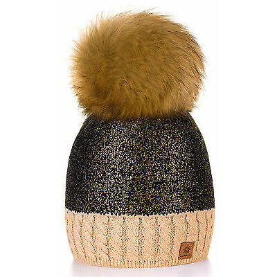 Women Winter Beanie Hat Knitted CRYSTAL Ladies Fashion Large Pom Pom Silver