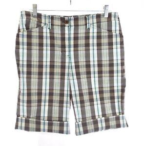 Jones New York Brown Plaid Bermuda Shorts Stretch Pockets Womens Sz 8 Medium