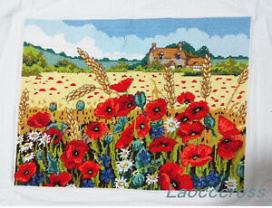 NEW-finished-completed-Cross-stitch-034-Corn-poppy-034-home-wall-decor-gift