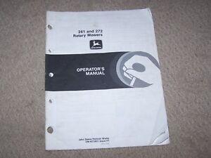 John Deere Used 261 & 272 Rotary Mower  Operators Manual  B6