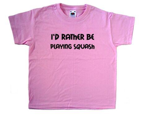 I/'d Rather Be Playing Squash Pink Kids T-Shirt