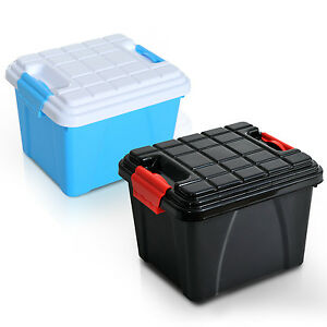 homcom aufbewahrungsbox aufbewahrungsbeh lter mit deckel auto kunststoff 35l neu ebay. Black Bedroom Furniture Sets. Home Design Ideas