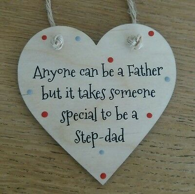 10cm Step dad Fathers Day Gift Wooden Gift Heart plaque Beautiful Keepsake