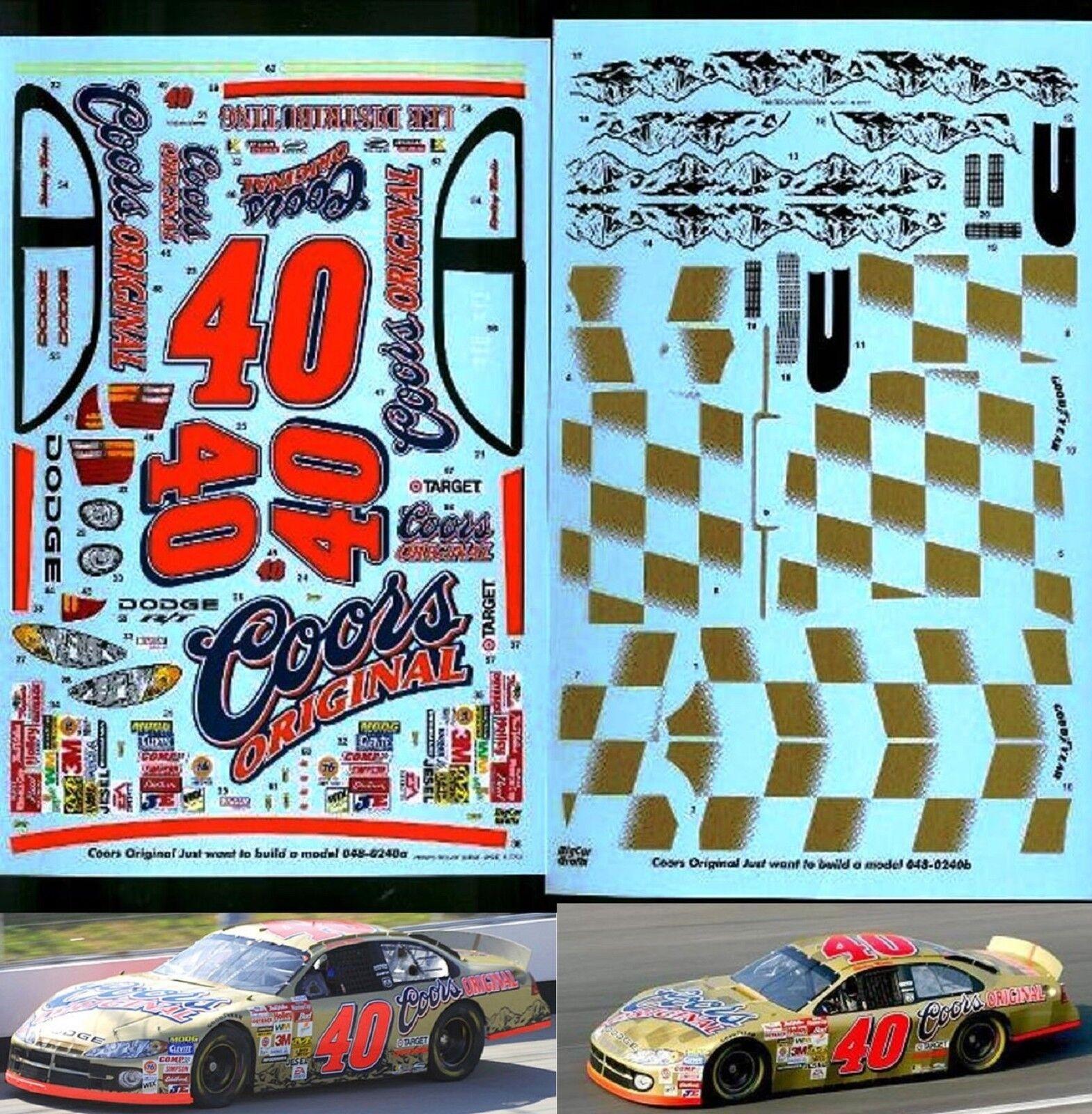 NASCAR DECAL COORS ORIGINAL gold 2002 DODGE - 2 VERSIONS - STERLING MARLIN