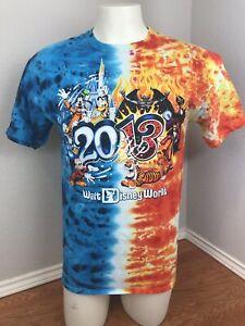 Disney-Parks-Mickey-Donald-Pluto-Goofy-Hook-Castle-2013-Tie-Dye-T-Shirt-M-Medium