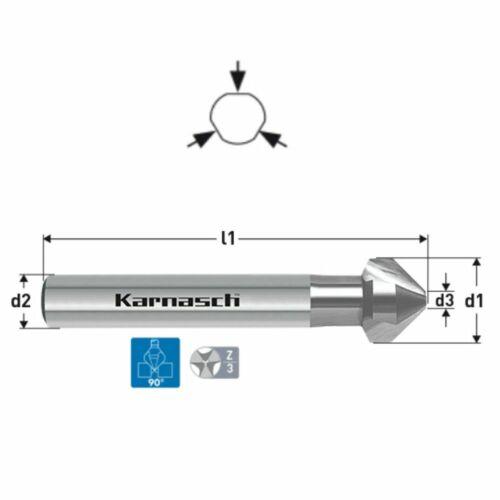 Senker HSS-XE Karnasch Kegelsenker 90° 3-Flächen-Schaft Ø 4,3-31,0 mm CBN