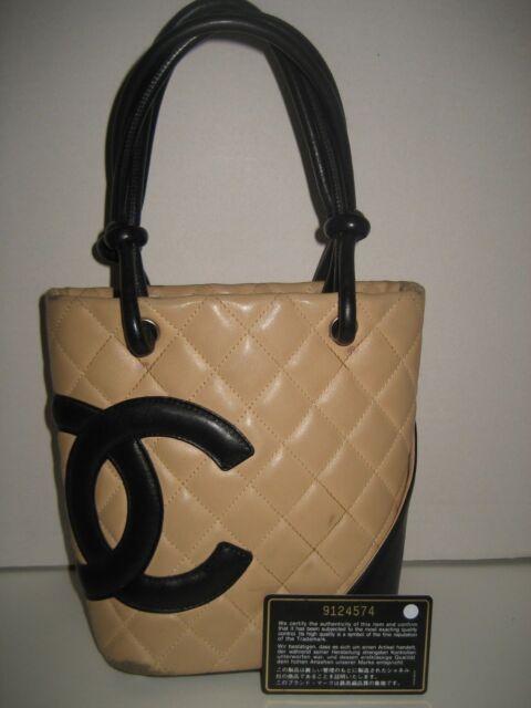2c8034533cd9 CHANEL Mini Cambon Black CC Quilted Beige Leather Shoulder Bag Handbag Purse