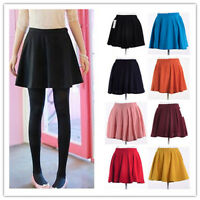 New Womens Ladies Belted Skater Flared Jersey Plain Mini Party Dress Skirt 0929