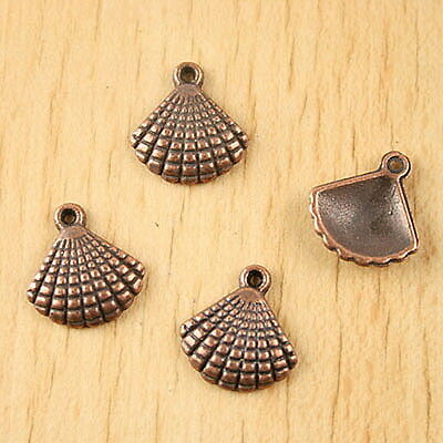 18pcs antiqued copper-tone shell charms H2242