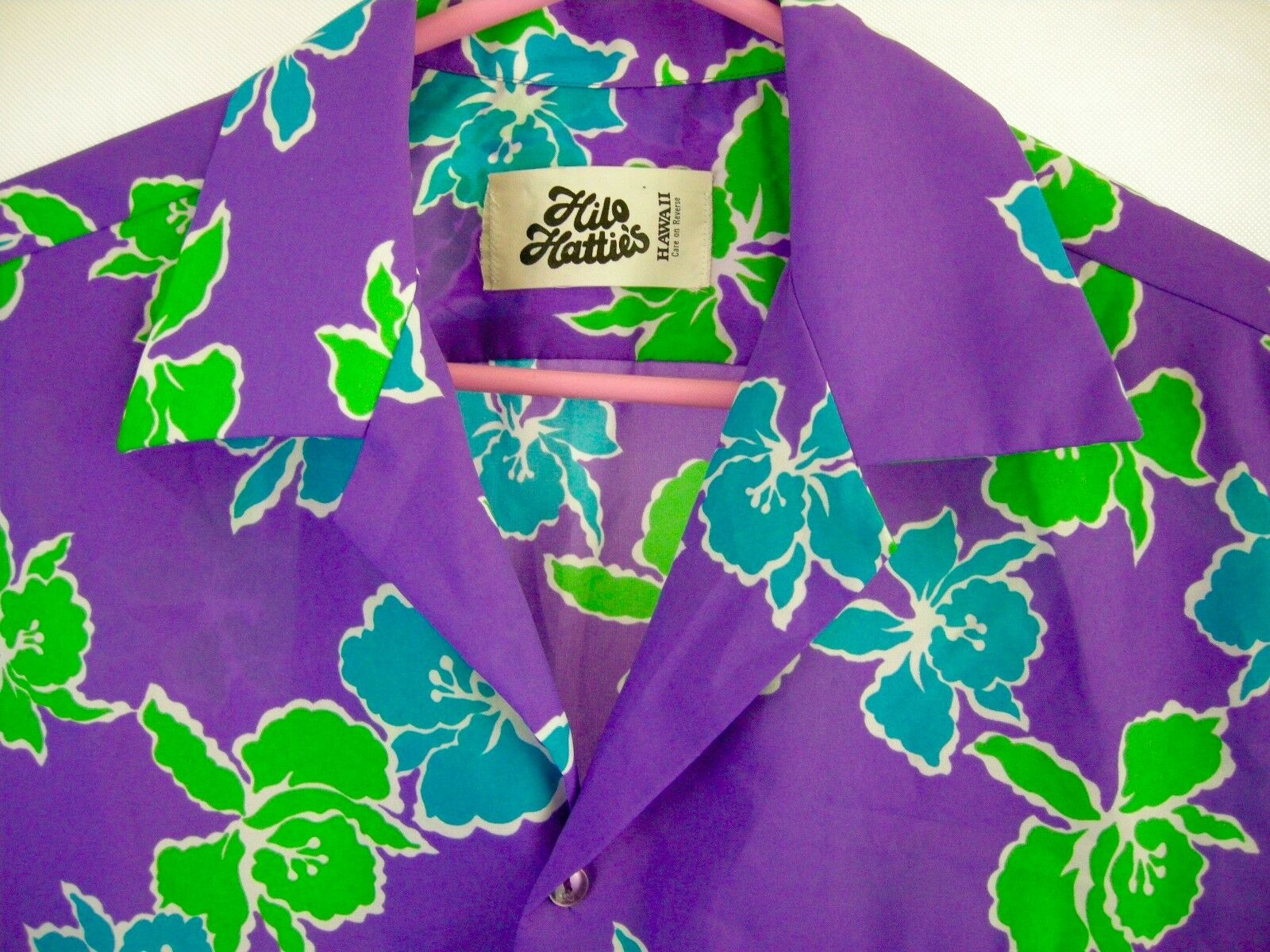 9192cd39 Men 70s VTG HILO HATTIE'S Hawaiian Aloha Shirt Purple Green bluee White Med  Mod