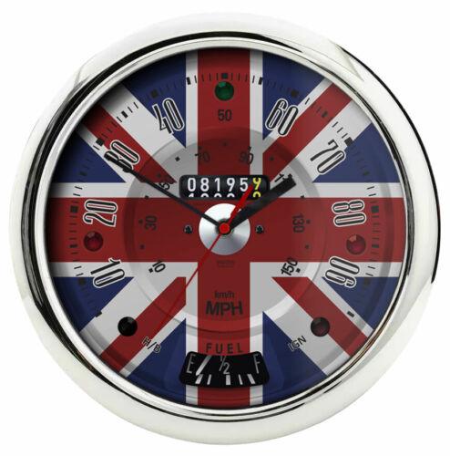 Classic Car Chrome Speedo Union Jack Horloge murale-Mouvement Quartz