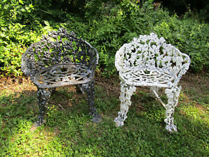 Image Is Loading Pair Of Vintage Cast Iron Garden Chairs Grape
