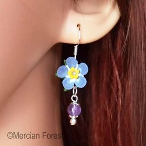 b99813a30 Image is loading Forget-Me-Not-Earrings-Polymer-Clay-Summer-Flowers-