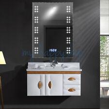 60 Led Illuminated Bathroom Mirror With Clock And 240v Shaver Socket