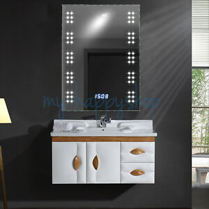 Bathroom 60 leds mirror light fog demister clock with toothbrush image is loading bathroom 60 leds mirror light fog demister clock aloadofball Image collections