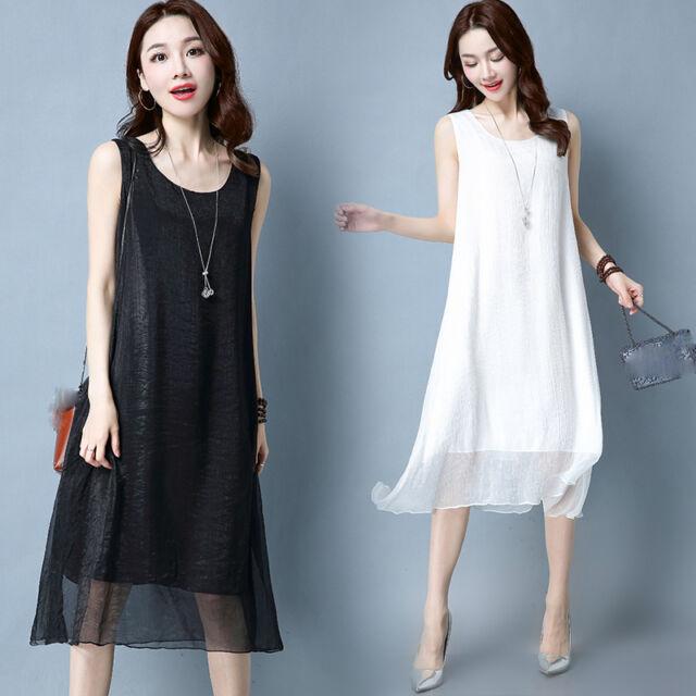 new summer Korean fashion elegant temperament loose Sleeveless vest dress